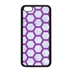 Hexagon2 White Marble & Purple Denim (r) Apple Iphone 5c Seamless Case (black) by trendistuff