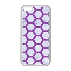 Hexagon2 White Marble & Purple Denim (r) Apple Iphone 5c Seamless Case (white) by trendistuff