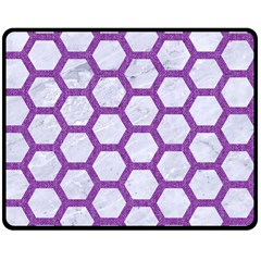 Hexagon2 White Marble & Purple Denim (r) Double Sided Fleece Blanket (medium)