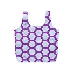 Hexagon2 White Marble & Purple Denim (r) Full Print Recycle Bags (s)