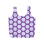 HEXAGON2 WHITE MARBLE & PURPLE DENIM (R) Full Print Recycle Bags (S)  Front