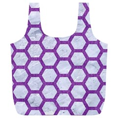 Hexagon2 White Marble & Purple Denim (r) Full Print Recycle Bags (l)