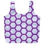 HEXAGON2 WHITE MARBLE & PURPLE DENIM (R) Full Print Recycle Bags (L)  Front