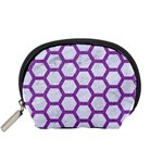 HEXAGON2 WHITE MARBLE & PURPLE DENIM (R) Accessory Pouches (Small)  Front