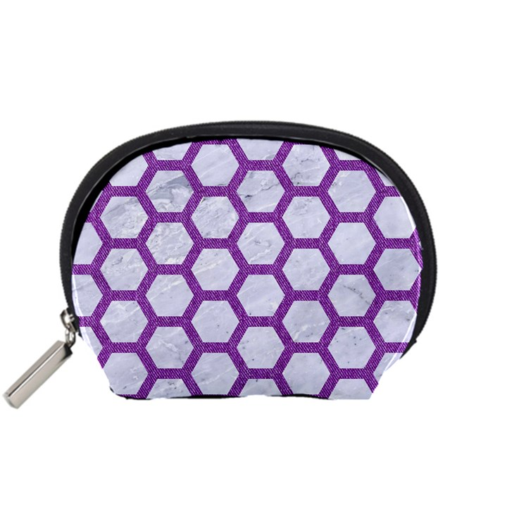HEXAGON2 WHITE MARBLE & PURPLE DENIM (R) Accessory Pouches (Small)