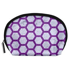 Hexagon2 White Marble & Purple Denim (r) Accessory Pouches (large)