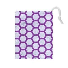 Hexagon2 White Marble & Purple Denim (r) Drawstring Pouches (large)