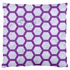 Hexagon2 White Marble & Purple Denim (r) Large Flano Cushion Case (one Side)