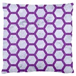 HEXAGON2 WHITE MARBLE & PURPLE DENIM (R) Large Flano Cushion Case (One Side) Front