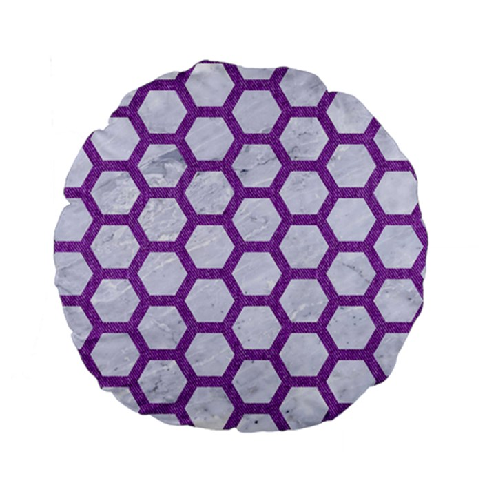 HEXAGON2 WHITE MARBLE & PURPLE DENIM (R) Standard 15  Premium Flano Round Cushions
