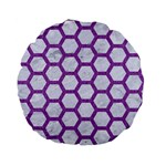 HEXAGON2 WHITE MARBLE & PURPLE DENIM (R) Standard 15  Premium Flano Round Cushions Back