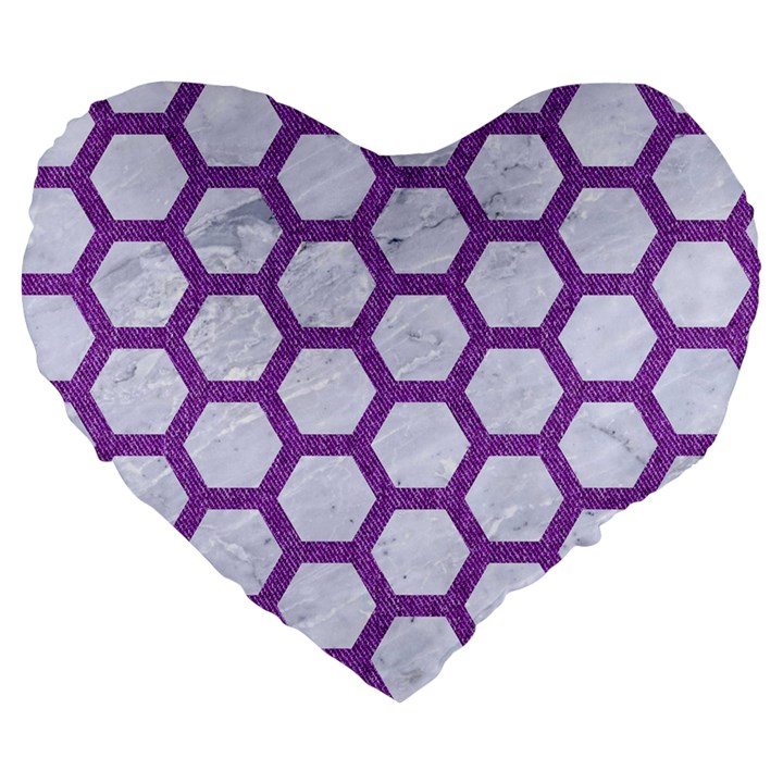 HEXAGON2 WHITE MARBLE & PURPLE DENIM (R) Large 19  Premium Flano Heart Shape Cushions