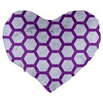 HEXAGON2 WHITE MARBLE & PURPLE DENIM (R) Large 19  Premium Flano Heart Shape Cushions Back