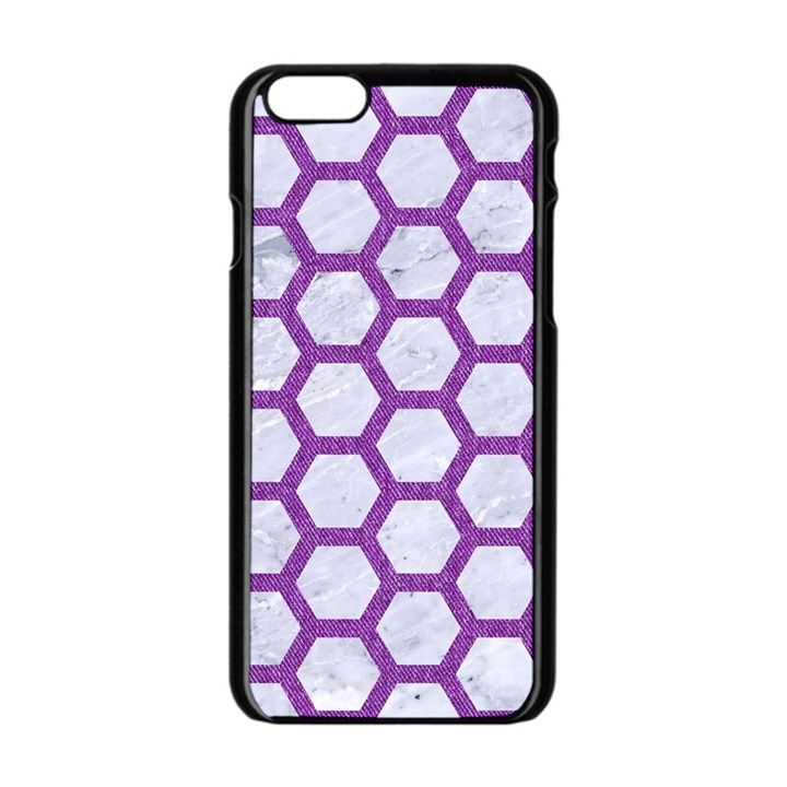 HEXAGON2 WHITE MARBLE & PURPLE DENIM (R) Apple iPhone 6/6S Black Enamel Case