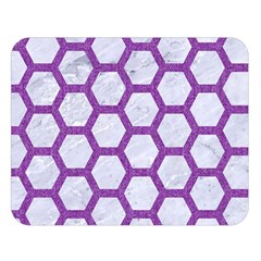 Hexagon2 White Marble & Purple Denim (r) Double Sided Flano Blanket (large)
