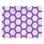 HEXAGON2 WHITE MARBLE & PURPLE DENIM (R) Double Sided Flano Blanket (Large)  80 x60 Blanket Front