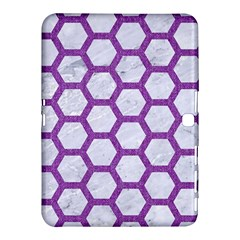 Hexagon2 White Marble & Purple Denim (r) Samsung Galaxy Tab 4 (10 1 ) Hardshell Case  by trendistuff
