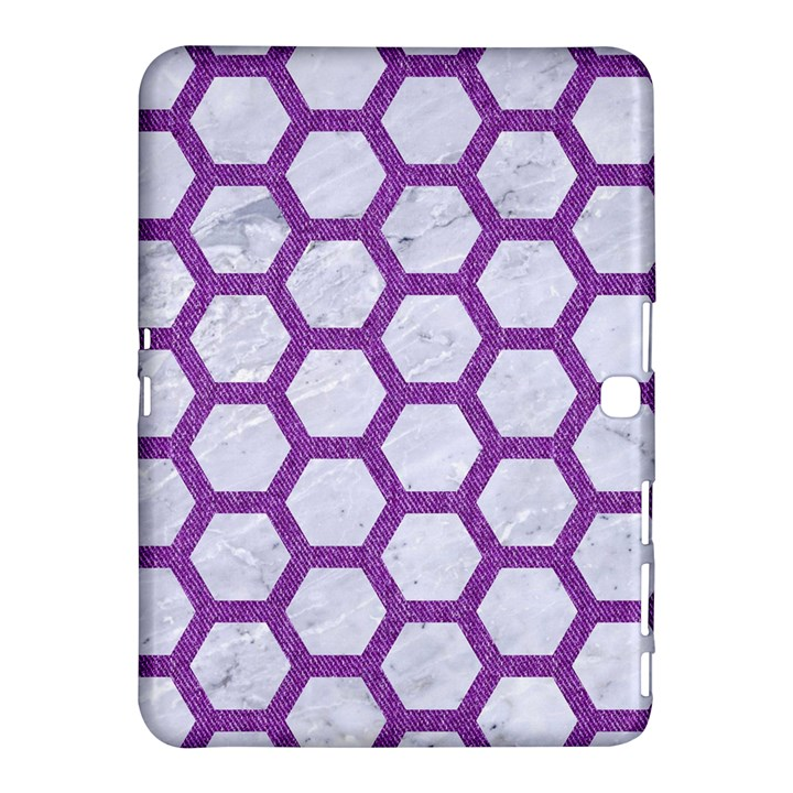 HEXAGON2 WHITE MARBLE & PURPLE DENIM (R) Samsung Galaxy Tab 4 (10.1 ) Hardshell Case