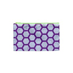 Hexagon2 White Marble & Purple Denim (r) Cosmetic Bag (xs) by trendistuff