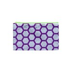 HEXAGON2 WHITE MARBLE & PURPLE DENIM (R) Cosmetic Bag (XS) Front