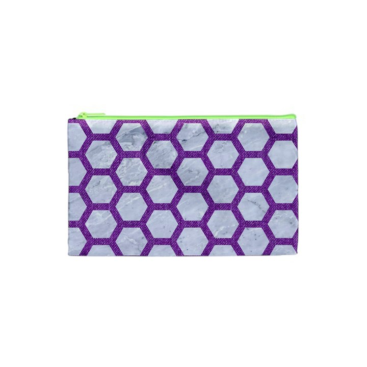 HEXAGON2 WHITE MARBLE & PURPLE DENIM (R) Cosmetic Bag (XS)