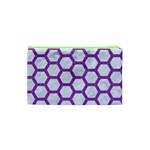 HEXAGON2 WHITE MARBLE & PURPLE DENIM (R) Cosmetic Bag (XS) Back