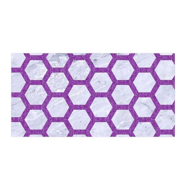 HEXAGON2 WHITE MARBLE & PURPLE DENIM (R) Satin Wrap