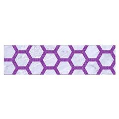 Hexagon2 White Marble & Purple Denim (r) Satin Scarf (oblong)
