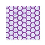 HEXAGON2 WHITE MARBLE & PURPLE DENIM (R) Small Satin Scarf (Square) Front