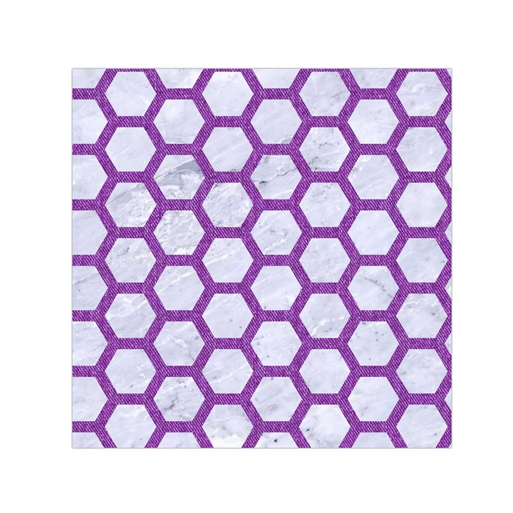 HEXAGON2 WHITE MARBLE & PURPLE DENIM (R) Small Satin Scarf (Square)