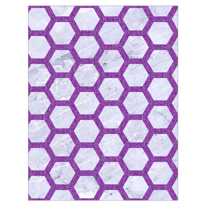 HEXAGON2 WHITE MARBLE & PURPLE DENIM (R) Drawstring Bag (Large)