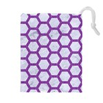 HEXAGON2 WHITE MARBLE & PURPLE DENIM (R) Drawstring Pouches (Extra Large) Front