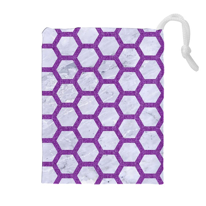 HEXAGON2 WHITE MARBLE & PURPLE DENIM (R) Drawstring Pouches (Extra Large)