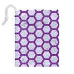 HEXAGON2 WHITE MARBLE & PURPLE DENIM (R) Drawstring Pouches (Extra Large) Back