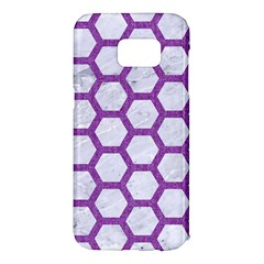 Hexagon2 White Marble & Purple Denim (r) Samsung Galaxy S7 Edge Hardshell Case