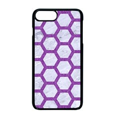 Hexagon2 White Marble & Purple Denim (r) Apple Iphone 7 Plus Seamless Case (black) by trendistuff