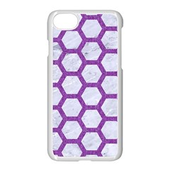 Hexagon2 White Marble & Purple Denim (r) Apple Iphone 7 Seamless Case (white) by trendistuff