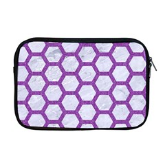Hexagon2 White Marble & Purple Denim (r) Apple Macbook Pro 17  Zipper Case
