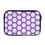 HEXAGON2 WHITE MARBLE & PURPLE DENIM (R) Apple MacBook Pro 17  Zipper Case Front