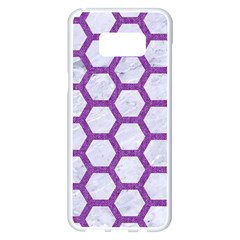 Hexagon2 White Marble & Purple Denim (r) Samsung Galaxy S8 Plus White Seamless Case