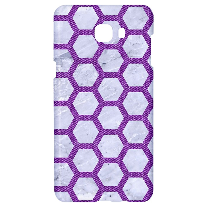 HEXAGON2 WHITE MARBLE & PURPLE DENIM (R) Samsung C9 Pro Hardshell Case