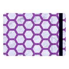 Hexagon2 White Marble & Purple Denim (r) Apple Ipad Pro 10 5   Flip Case