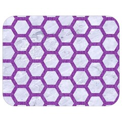 Hexagon2 White Marble & Purple Denim (r) Full Print Lunch Bag by trendistuff