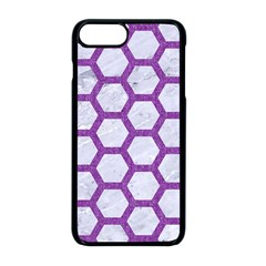 Hexagon2 White Marble & Purple Denim (r) Apple Iphone 8 Plus Seamless Case (black) by trendistuff