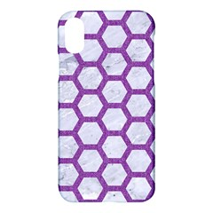 Hexagon2 White Marble & Purple Denim (r) Apple Iphone X Hardshell Case by trendistuff