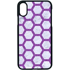 Hexagon2 White Marble & Purple Denim (r) Apple Iphone X Seamless Case (black) by trendistuff