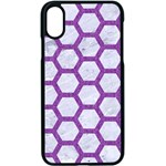 HEXAGON2 WHITE MARBLE & PURPLE DENIM (R) Apple iPhone X Seamless Case (Black) Front