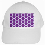 HEXAGON2 WHITE MARBLE & PURPLE DENIM White Cap Front
