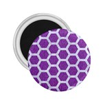 HEXAGON2 WHITE MARBLE & PURPLE DENIM 2.25  Magnets Front