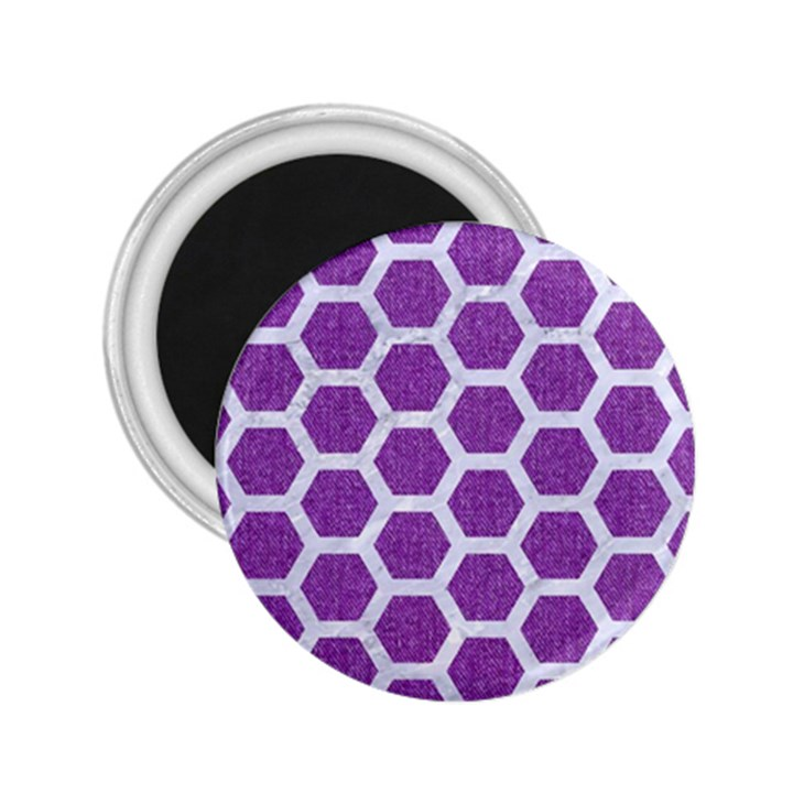 HEXAGON2 WHITE MARBLE & PURPLE DENIM 2.25  Magnets
